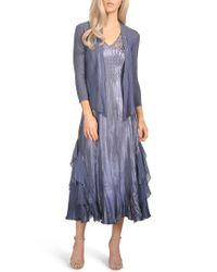 Komarov - Blue Waterfall Midi Dress With Jacket - Lyst