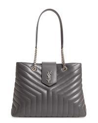 Saint Laurent - Natural Large Loulou Matelasse Leather Shopper - Lyst