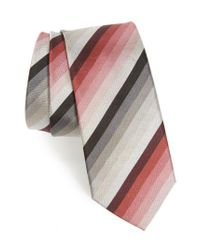 Paul Smith - Gray Multistripe Silk Skinny Tie for Men - Lyst