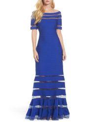Tadashi Shoji - Blue Pintuck Jersey Off The Shoulder Gown - Lyst