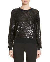 Michael Kors - Black Sequined Tulle Leopard Sweater - Lyst