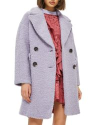 TOPSHOP - Gray Alicia Boucl? Slouch Coat - Lyst