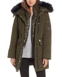 Vince Camuto - Green Bib Insert Down & Feather Fill Coat - Lyst