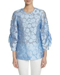 Lela Rose - Blue Fil Coupe Bow Sleeve Top - Lyst