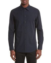 Armani - Blue Armani Collezioni Fil Coupe Diamond Jacquard Sport Shirt for Men - Lyst