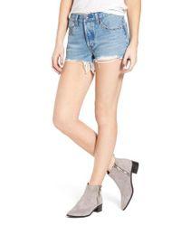Levi's - Blue Levi's 501 Distressed Cutoff Denim Shorts - Lyst