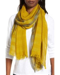 Eileen Fisher | Yellow Plaid Wool Scarf | Lyst