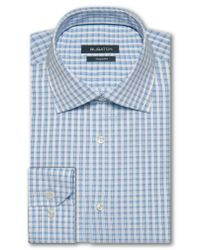 Bugatchi - Blue Trim Fit Check Dress Shirt for Men - Lyst