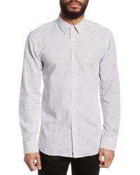 HUGO White Elisha Triangle Print Sport Shirt for men