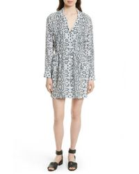Equipment | Gray Emmanuelle Snake Print Silk Shirtdress | Lyst