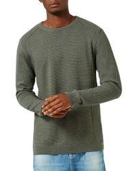 Topman - Green Slim Fit Ribbed Sweater for Men - Lyst