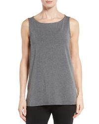 Eileen Fisher - Gray Stretch Tencel Jersey Tank - Lyst