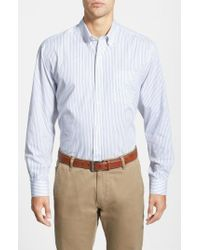 Cutter & Buck | White 'epic Easy Care' Classic Fit Vertical Pinstripe Wrinkle Resistant Sport Shirt for Men | Lyst