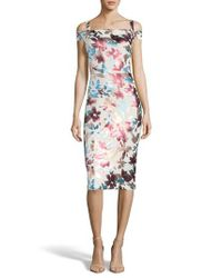 Eci Multicolor Floral Cold Shoulder Sheath Dress