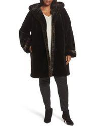 Gallery | Black Hooded Faux Fur Coat | Lyst