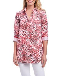 Foxcroft - Red Faith Batik Floral Shirt - Lyst