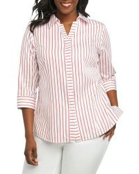 Foxcroft - Red Clio Sateen Stripe Shirt - Lyst