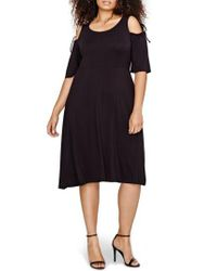MICHEL STUDIO - Black Shoulder Tie Fit & Flare Dress - Lyst
