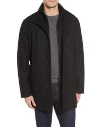 Cole Haan - Black Melton Wool Blend Coat for Men - Lyst