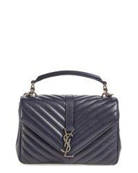Saint Laurent | Blue Medium College Quilted-Leather Shoulder Bag | Lyst