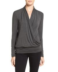 Amour Vert - Green 'angela' Long Sleeve Wrap Front Top - Lyst