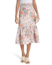 Rebecca Taylor Pink Marlena Ruffled Floral Skirt