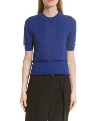 3.1 Phillip Lim - Blue Puffy Cable Merino Wool Blend Sweater - Lyst
