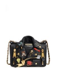 Moschino - Black Biker Jacket Shoulder Bag - Lyst