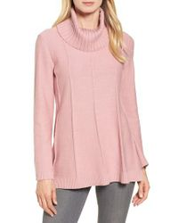 Chaus - Pink Cowl Neck Bell Sleeve Ribbed Sweater - Lyst