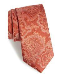 Calibrate - Orange Ellerson Paisley Silk Tie for Men - Lyst