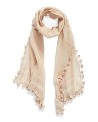 La Fiorentina | Natural Tassel Silk Scarf | Lyst