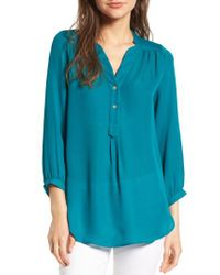 Amour Vert | Blue 'amy' Collarless Silk Blouse | Lyst