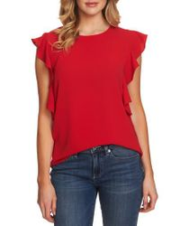 Cece - Red Cascading Ruffle Blouse - Lyst