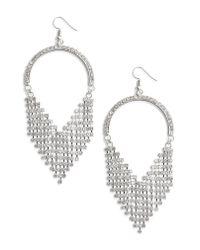 Leith - Metallic Crystal Fringe Earrings - Lyst