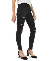 TOPSHOP - Black Joni Super Rip Crop Skinny Jeans - Lyst