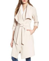 SOIA & KYO - Natural Roll Sleeve Drape Front Long Trench Coat - Lyst