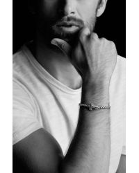 David Yurman - Pave Black Diamond Cross Station Bracelet for Men - Lyst