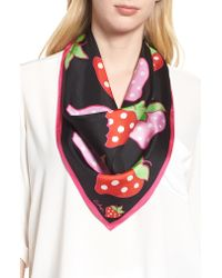 Echo - Black Strawberry Patch Square Silk Scarf - Lyst