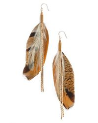 Serefina - Metallic Vintage Feather Drop Earrings - Lyst