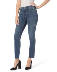 NYDJ - Blue Sheri Raw Hem Stretch Slim Ankle Jeans - Lyst
