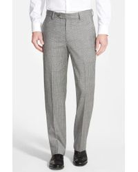 Berle - Gray Flat Front Plaid Wool Trousers for Men - Lyst