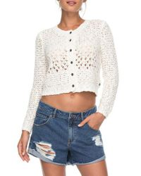 Roxy - White Beach Adventure Crop Cardigan - Lyst