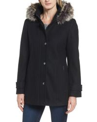 London Fog - Black Peacoat With Faux Fur Trim - Lyst