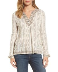 Lucky Brand - Natural Embroidered Drop Needle Top - Lyst