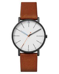 Skagen | Brown Signatur Leather Strap Watch for Men | Lyst
