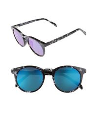 DIFF | Blue Charlie 48mm Mirrored Polarized Round Retro Sunglasses | Lyst