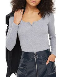 TOPSHOP | Gray Scoop Neck Henley | Lyst