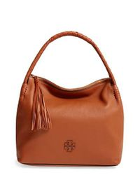 f40bb1c2634 Lyst - Tory Burch Taylor Leather Hobo Bag in Brown