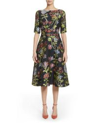 Lela Rose - Green Floral Matelasse A-line Dress - Lyst