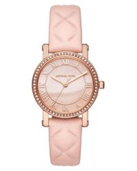 Michael Kors - Pink Norie Crystal Accent Leather Strap Watch - Lyst